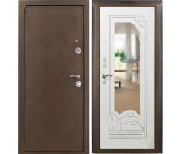 Металлическая дверь AMPIR зеркало Белый ясень