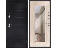 Металлическая дверь Дверной Континент Сити с зеркалом Беленый дуб