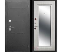 Металлическая дверь  Гарда 7,5  Серебро Зеркало фацет Белый ясень