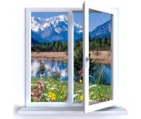 Окно Rehau двухстворчатое 60 мм однокамерное